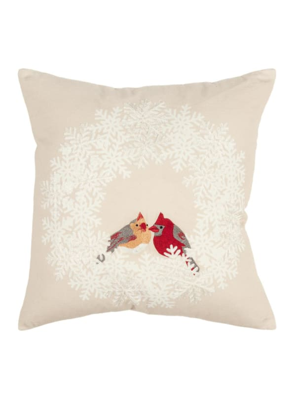 "Holiday Cardinal Birds 20""x20"" Natural Cotton Pillow Cover - Natural - Front"