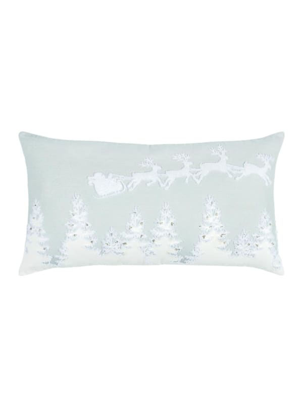 """Holiday Flight of Santa 14""""x26"""" Gray Cotton Poly Filled Pillow - Gray - Front"""
