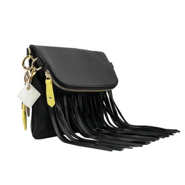 Flamingo Leather Fringe Bag