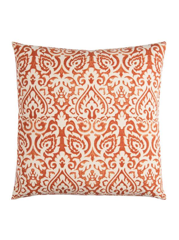 Damask Orange & Natural Throw Pillow