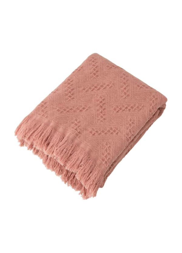 Coral Pink Grid Cotton Woven Throw - Coral Pink - Front