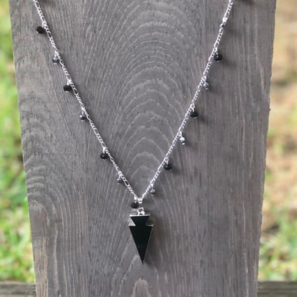 Beaded Crystals Arrow Necklace