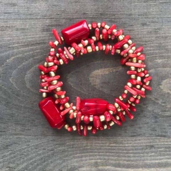 Coral Trio Bracelet Set