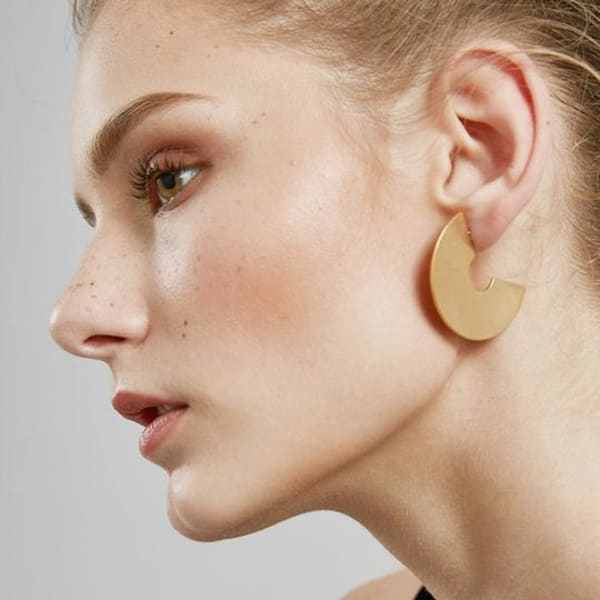 Gold Plated Marly Half-Moon Shaped Earrings