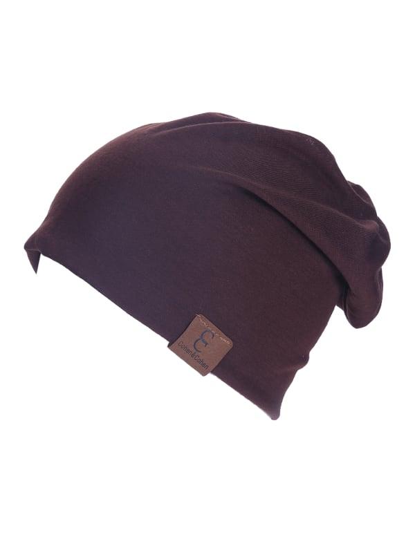 Unisex Slouch CC Chic Winter Beanie - Dark Brown - Front