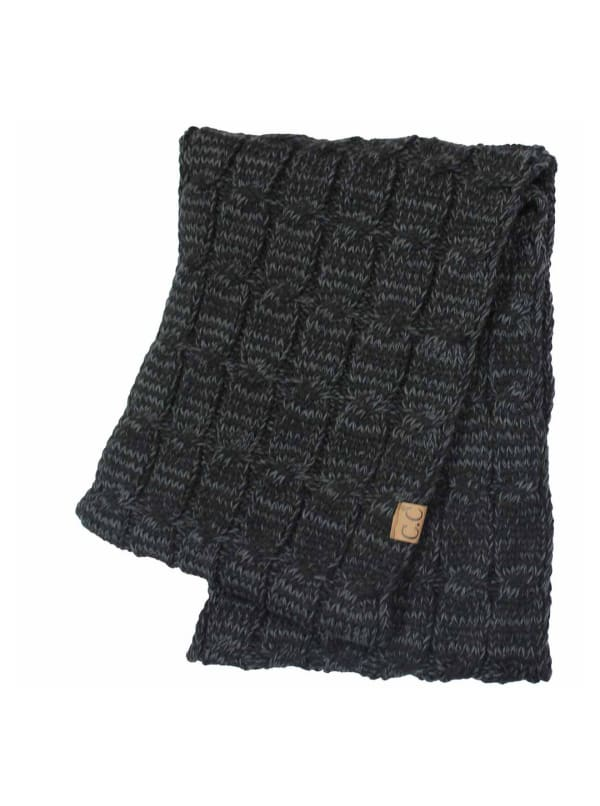 C.C® Two-Tone Multi Color Scarf - Black - Front