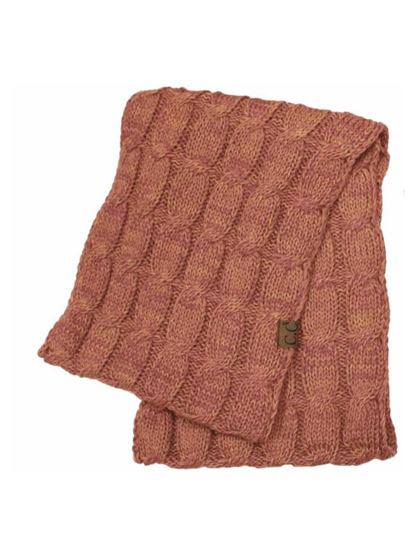 C.C® Two-Tone Multi Color Scarf - Brick Red - Front