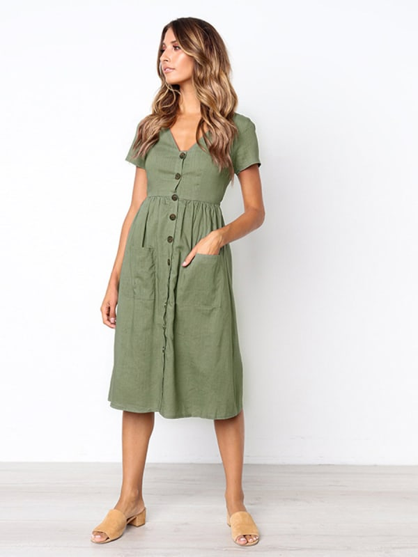 Buttoned V-Neck Dress With Pockets - Khaki - Front