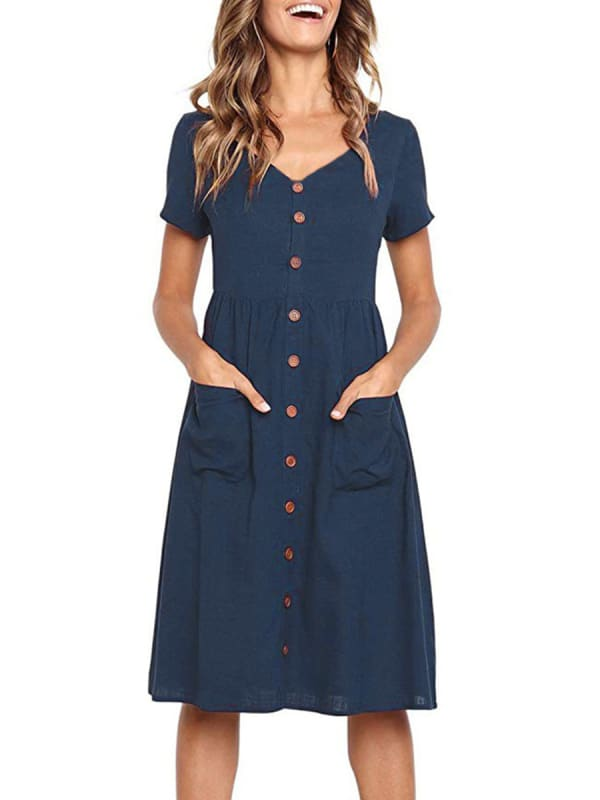 Buttoned V-Neck Dress With Pockets - Navy blue - Front