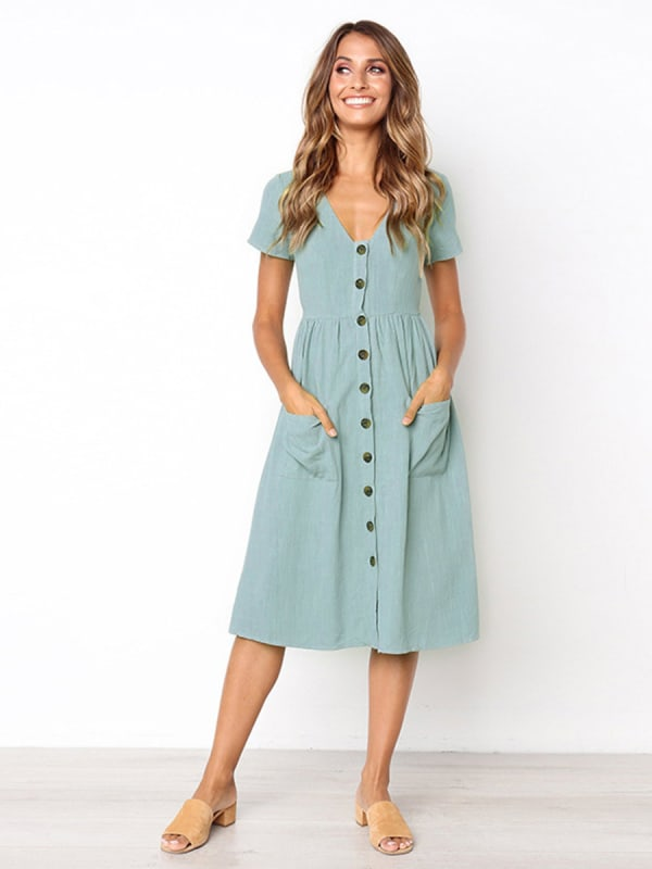 Buttoned V-Neck Dress With Pockets - Light blue - Front