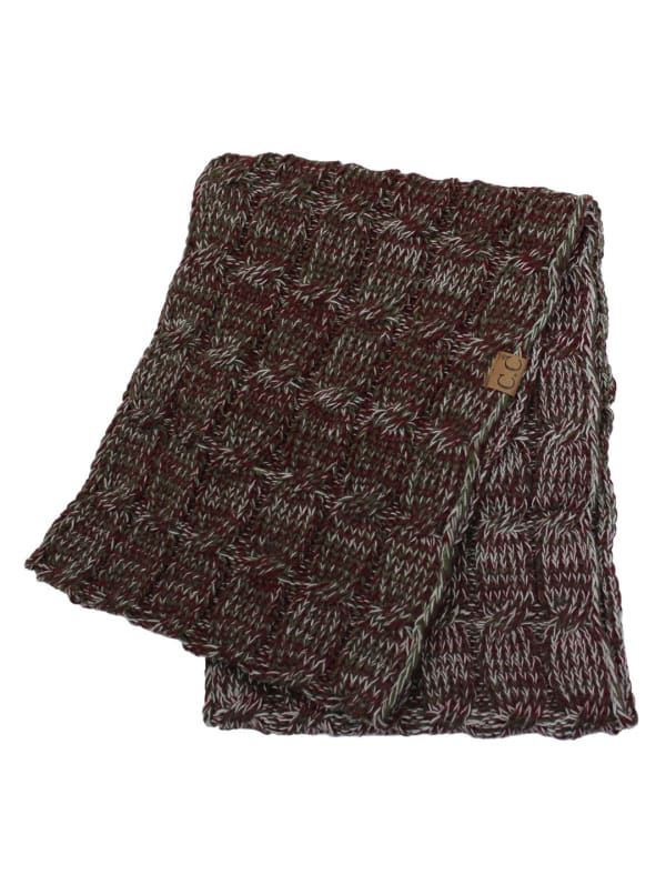 CC® Four-Tone Multi Color Scarf - Deep Red / Grey - Front