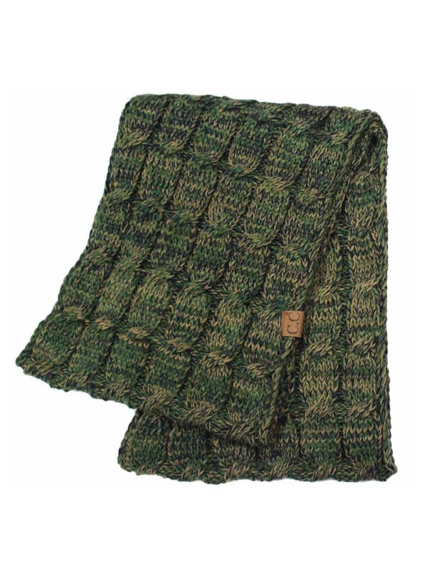 CC® Four-Tone Multi Color Scarf - Seaweed Green - Front