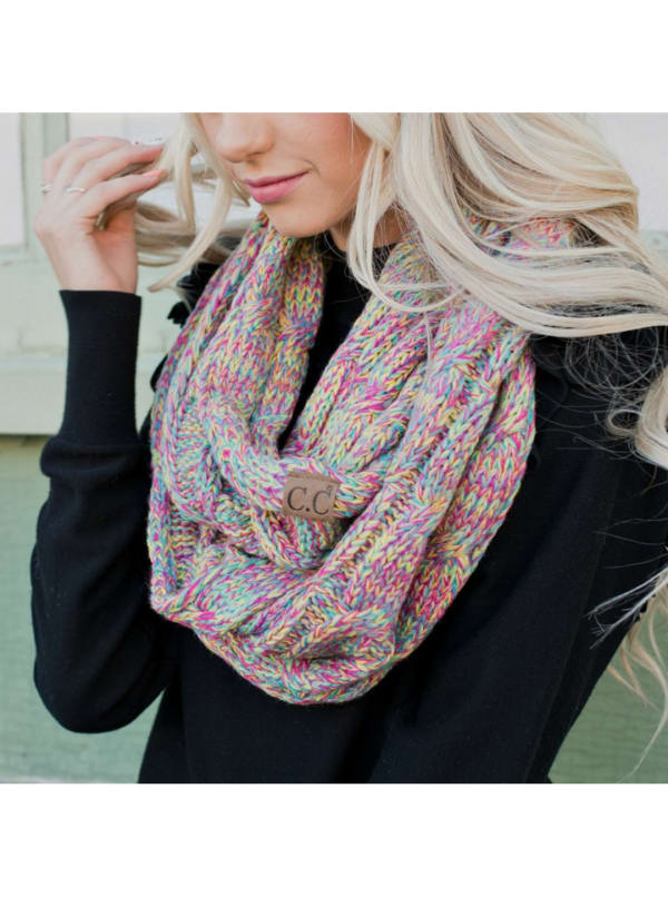 CC® Four-Tone Multi Color Scarf - Pink / Multi - Front