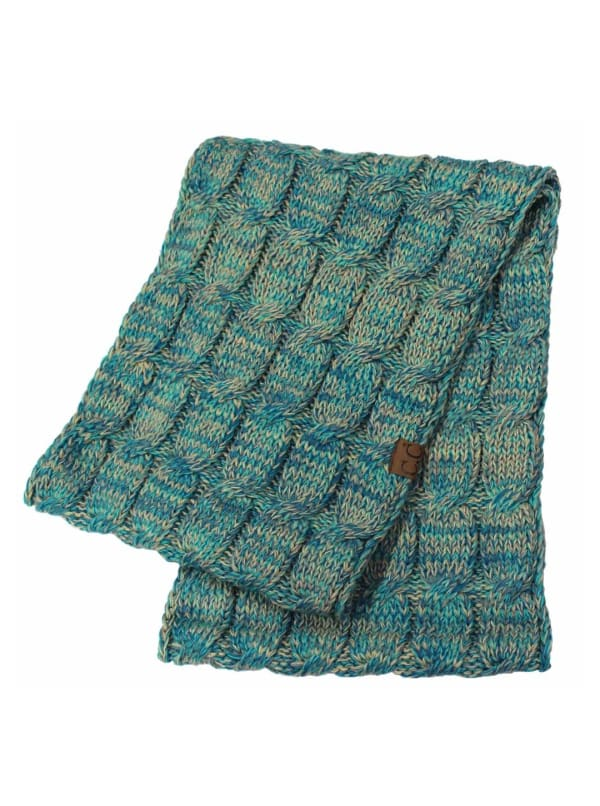 CC® Four-Tone Multi Color Scarf - Blue / Green - Front