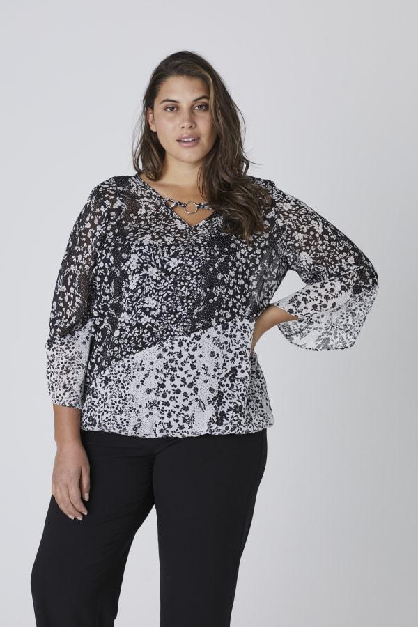 Westport Twin Print Bubble Hem Blouse - Plus - Black/White - Front