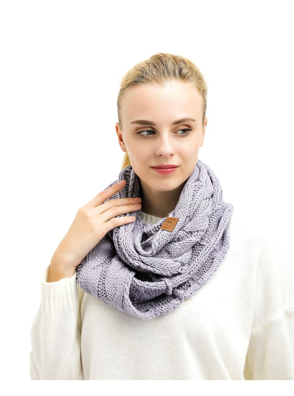 Popular CC Chic Knit Scarf - Light Grey - Front