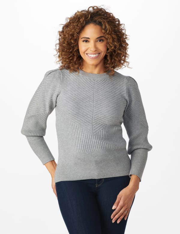 Roz & Ali Novelty Sleeve Stitch Interest Pullover Sweater - Heather Grey - Front