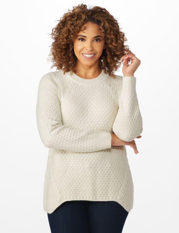 Westport Lurex Sharkbite Pullover Sweater - Very Vanilla - Front