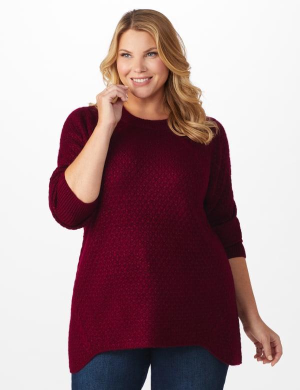 Westport Lurex Sharkbite Pullover Sweater - Plus - Velvet Red - Front
