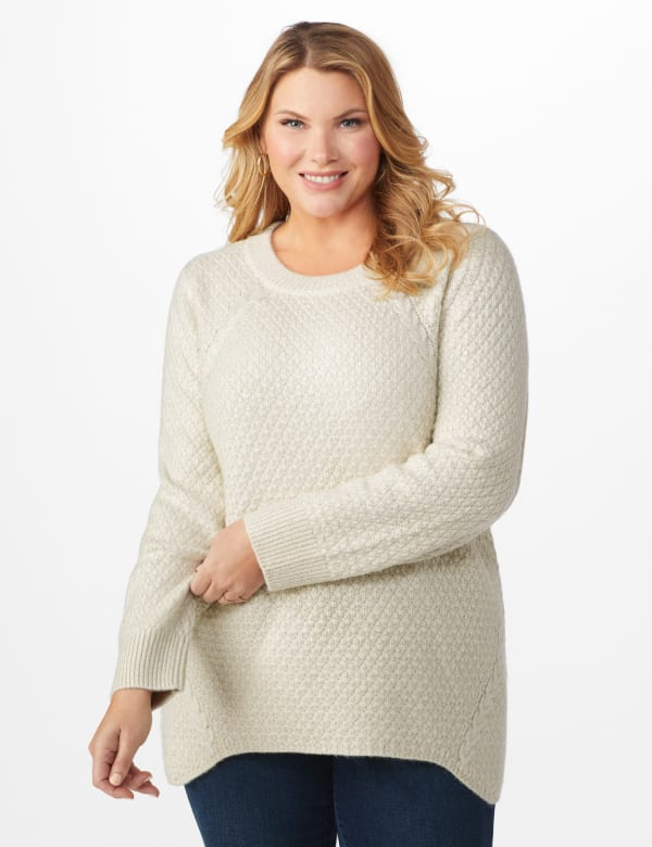 Westport Lurex Sharkbite Pullover Sweater - Plus - Very Vanilla - Front