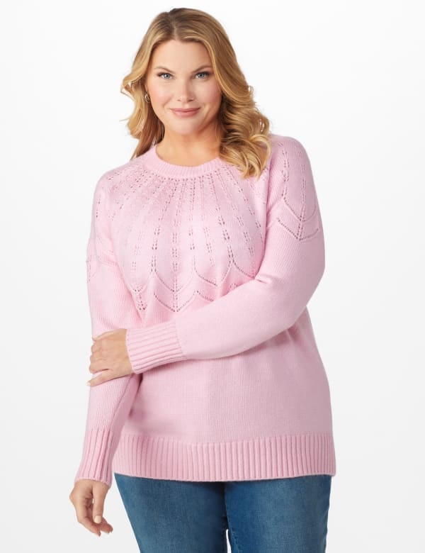 Roz & Ali Pointelle Pullover Sweater - Plus - Pink Cream - Front