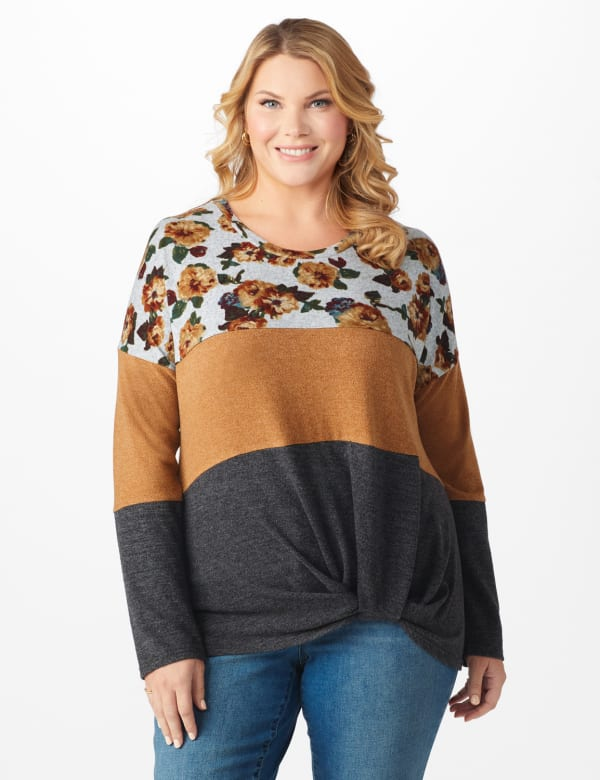 Westport Floral Hacci Sweater Knit Top - Plus - Spiced/Charcoal Grey - Front
