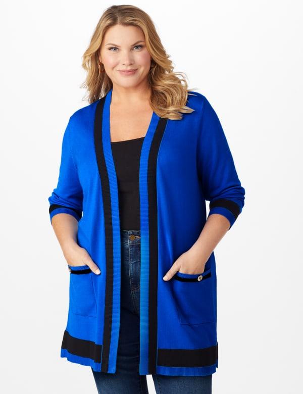 Roz & Ali Colorblock Duster - Plus - Masquerade Blue/Black - Front