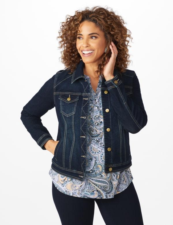 Westport Stretch Denim Button Front Jean Jacket - Dark Denim - Front