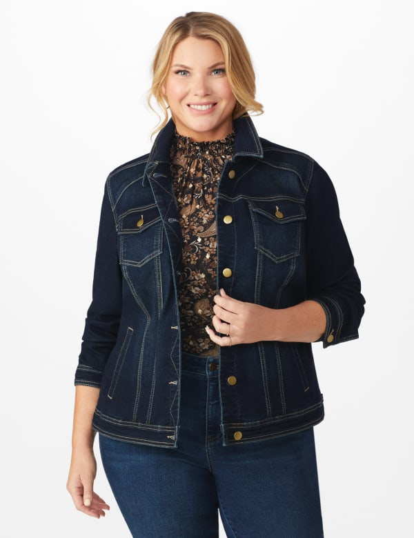 Westport Stretch Denim Jean Jacket - Plus -Dark Denim - Front