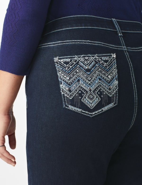 Plus Westport Signature Bootcut 5 Pocket Jean with Chevron Pattern Bling Back Pocket - Plus - Dark Wash - Front