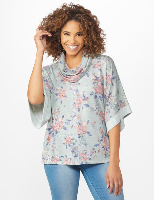 Cowl Neck Floral Knit Top -Sage - Front