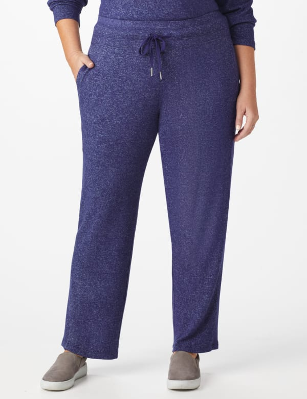DB Sunday Hacci Drawstring Knit Pant - Plus -Navy - Front