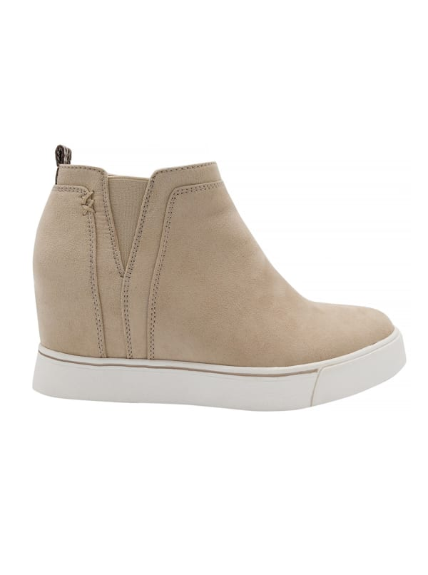 Glossy Wedge Sneaker - Stone Fabric Suede - Front