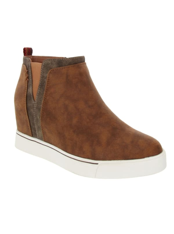Glossy Wedge Sneaker - Taupe Fabric Suede - Front