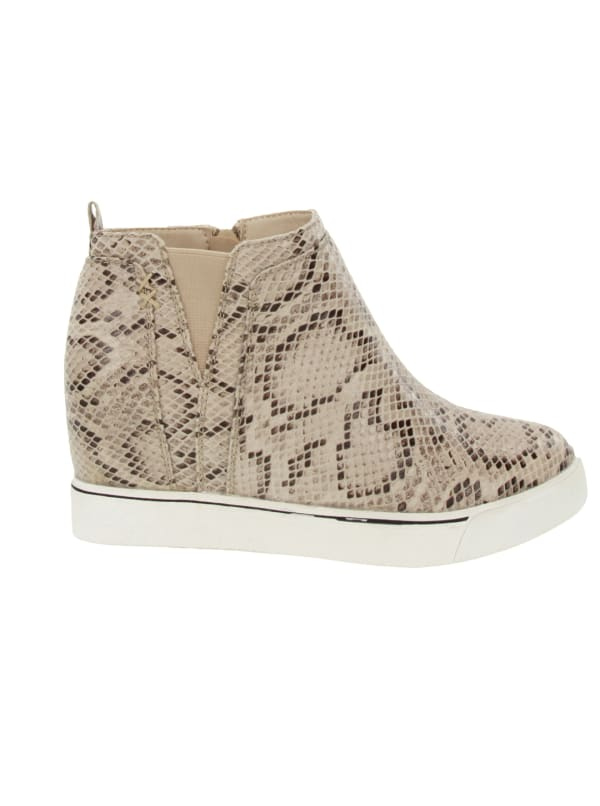 Glossy Wedge Sneaker - Natural Texture - Front