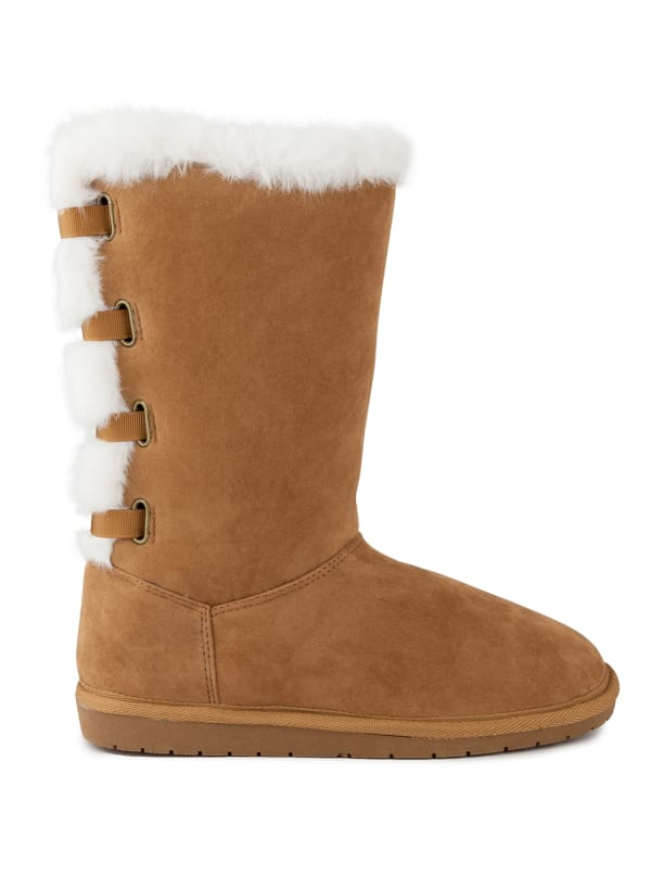 Panthea Faux Suede Tall Boots - Chestnut / Microsuede - Front