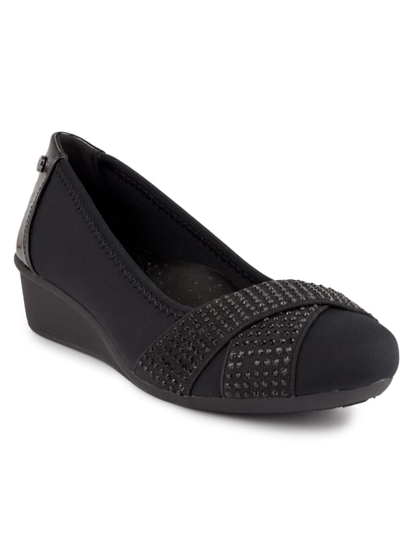Carina Slip On Wedge - Black Neoprene - Front