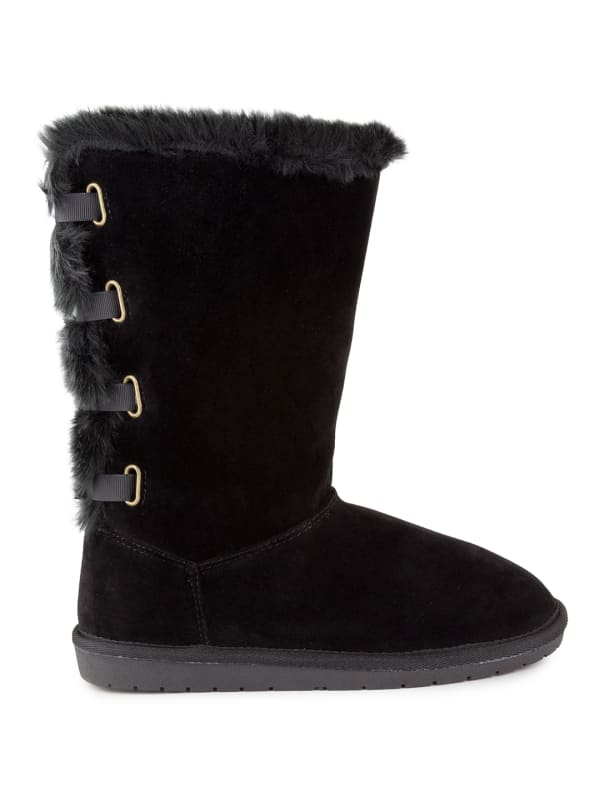 Panthea Faux Suede Tall Boots - Black / Microsuede - Front