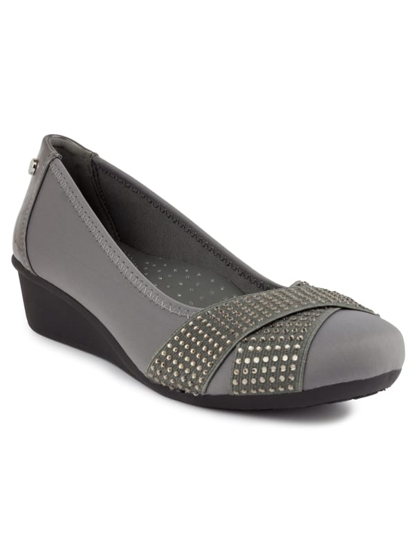 Carina Slip On Wedge - Grey Neoprene - Front