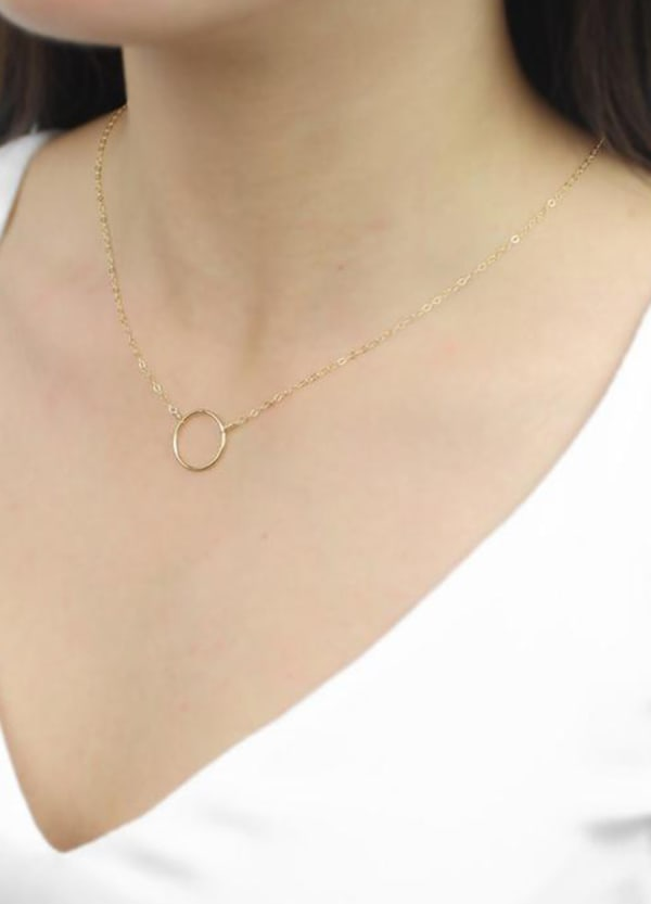 Big Circle Necklace - Gold - Front