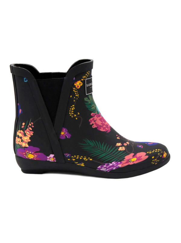 Piccadilly Rain Boots - Black Floral - Front