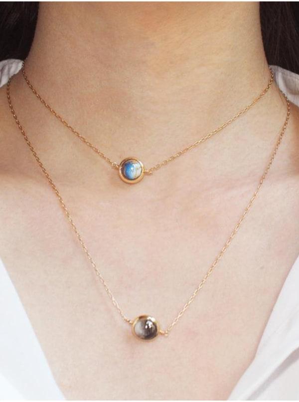 14K Gold Filled Uranus Necklace - Gold - Front