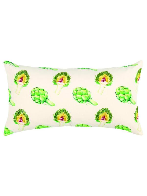"Artichoke Motif 14""x26"" Green/Natural Cotton Poly Filled Pillow"