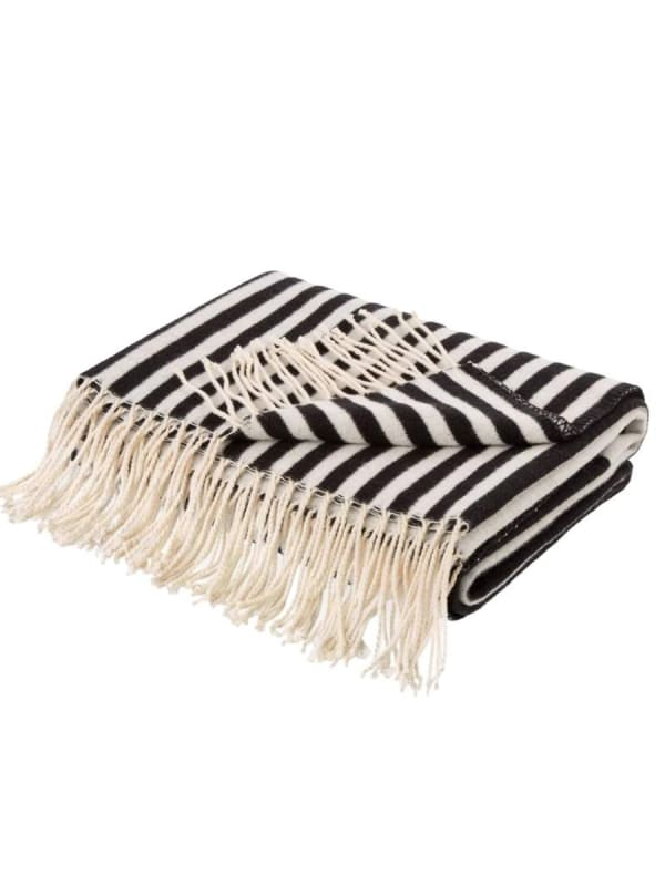 Woven Cotton Geometric Jacquard Throw 600g - Black / White - Front