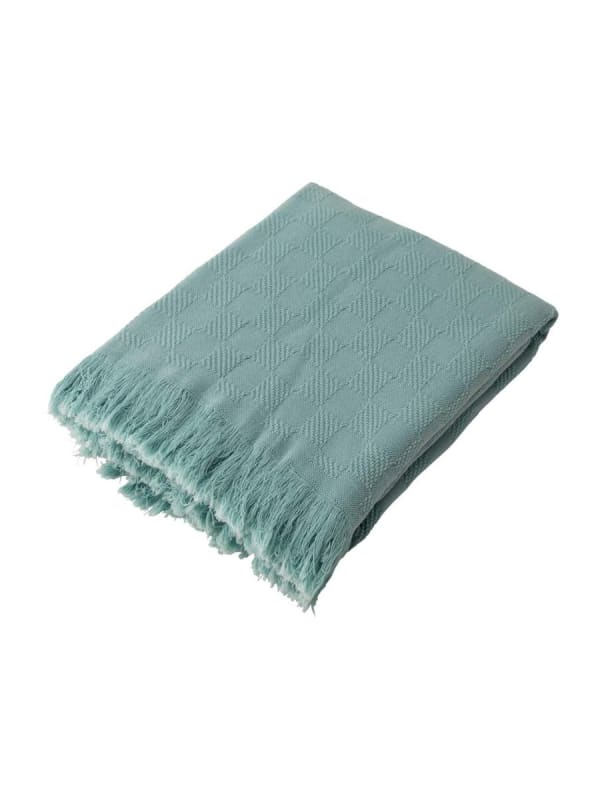 Olive Green Checked Cotton Woven Throw - Olive - Front
