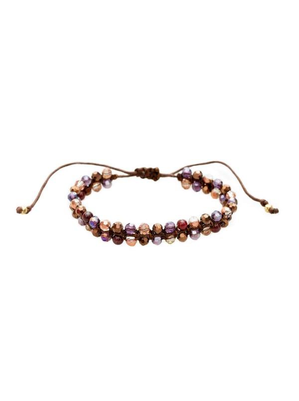 Garnet Gala Macrame Bracelet - Purple / Brown - Front