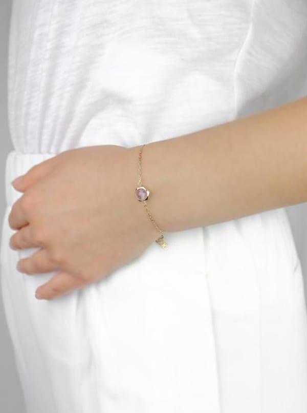 14K Gold Filled Amethyst Bracelet - Gold - Front