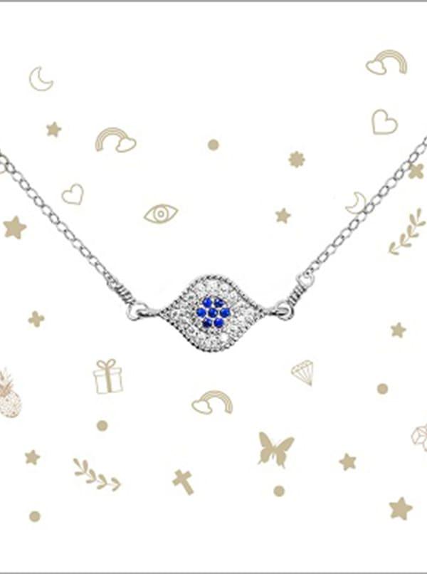 Evil Eye Necklace - Sterling Silver - Front