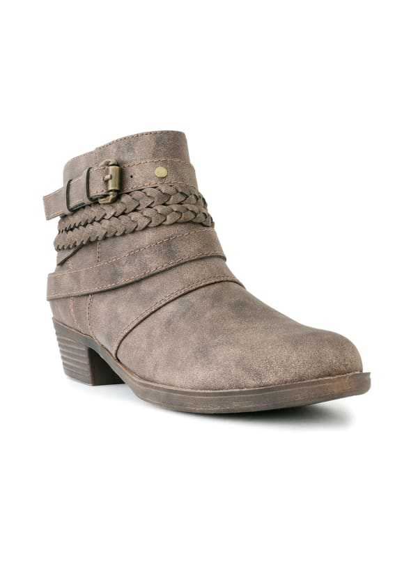 Tick Tock Braided Ankle Booties -Stone - Front