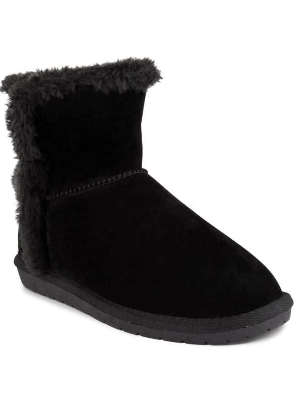 Poppy Faux Fur Short Boots - Black Fabric - Front